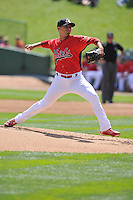 Arturo Reyes #30 of the Peoria Chiefs pitches against the Great Lakes Loons at Dozer Park on July 28, 2014 in Peoria, Illinois. The Loons won 4-0.   (Dennis Hubbard/Four Seam Images)