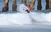 Huntington Beach, CA - Sunday July 30, 2017: Seth Moniz during a Qualifying Series (QS) trials round heat in the 2017 Vans US Open of Surfing on the South side of the Huntington Beach pier.