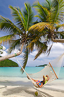 Aldris Santana in a hammock <br /> Maho Bay, St. John<br /> Virgin Islands National Park