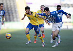 Kilmarnock v St Johnstone…30.01.21   Rugby Park   SPFL<br />Guy Melamed battles with Zeno Ibsen Rossi<br />Picture by Graeme Hart.<br />Copyright Perthshire Picture Agency<br />Tel: 01738 623350  Mobile: 07990 594431