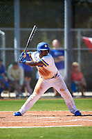 South Dakota State Jackrabbits first baseman Josh Kutzke (25) bats during a game against the FIU Panthers on February 23, 2019 at North Charlotte Regional Park in Port Charlotte, Florida.  South Dakota State defeated FIU 4-3.  (Mike Janes/Four Seam Images)