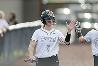 Bentonville pitcher McKenzie Vaughan (5) reacts, Thursday, April 29, 2021 during a softball game at Bentonville High School in Bentonville. Check out nwaonline.com/210430Daily/ for today's photo gallery. <br /> (NWA Democrat-Gazette/Charlie Kaijo)
