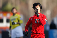 Ohio State Buckeyes midfielder Roger Espinoza (27) quiets the Wake Forest Demon Deacons fans after scoring in the first half of the NCAA College Cup finals between Ohio State and Wake Forest at SAS Stadium in Cary, NC on December 16, 2007.