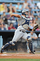 Charleston RiverDogs catcher Gary Sanchez #35 throws to second during a  game  against  the Asheville Tourists at McCormick Field on August 4, 2011 in Asheville, North Carolina. Asheville won the game 5-4.   (Tony Farlow/Four Seam Images)