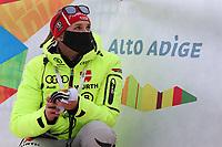 21st December 2020; Alta Badia Ski Resort, Dolomites, Italy; International Ski Federation World Cup Slalom Skiing; German staff wearing a protective mask