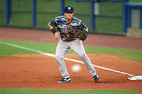 Tampa Yankees first baseman Tim Lynch (25) during the second game of a doubleheader against the Charlotte Stone Crabs on July 18, 2017 at Charlotte Sports Park in Port Charlotte, Florida.  Charlotte defeated Tampa 2-1.  (Mike Janes/Four Seam Images)