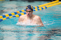 BERKELEY, CA - Feb. 18, 2017: Cal's Karl Arvidsson swims in the hear 1 of the Men 200 Yard Breaststroke.  Cal Men's Swimming and Diving competed against Stanford at Spieker Aquatics Complex.