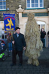 Straw Bear Festival. Whittlesea Whittlesey Cambridgeshire UK 2008. Straw Bear and handler.
