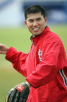 """June 18th 2008:  Trainer Manabu """"Bu"""" Kuwazuru of the Batavia Muckdogs, Class-A affiliate of the St. Louis Cardinals, during a game at Dwyer Stadium in Batavia, NY.  Photo by:  Mike Janes/Four Seam Images"""