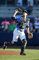Charlotte Stone Crabs catcher Justin O'Conner (11) looks for a pop up foul ball during a game against the Palm Beach Cardinals on April 12, 2014 at Charlotte Sports Park in Port Charlotte, Florida.  Palm Beach defeated Charlotte 6-2.  (Mike Janes/Four Seam Images)