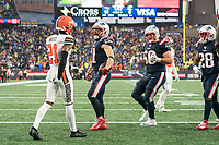 FOXBOROUGH, MA - OCTOBER 27: New England Patriots Wide Receiver Julian Edelman #11 celebrates his touchdown during a game between Cleveland Browns and New Enlgand Patriots at Gillettes on October 27, 2019 in Foxborough, Massachusetts.