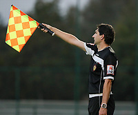 Assistant referee raises to flag to indicate offside during a female soccer game between Oud Heverlee Leuven and Femina White Star Woluwe  on the 5 th matchday of the 2020 - 2021 season of Belgian Womens Super League , Sunday 18 th of October 2020  in Heverlee , Belgium . PHOTO SPORTPIX.BE | SPP | SEVIL OKTEM