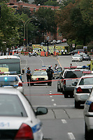 September 13, 2006 File Photo - Montreal policemen on the scene of a shooting at Dawson college.<br /> 19 student were wounded and 1 was killed by Kimveer Gill, who  commited suicide after beeing wound by the police<br /> <br /> PHOTO :  Agence Quebec Presse