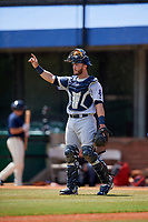 Pensacola Blue Wahoos catcher Joe Hudson (8) signals to the defense during a game against the Mobile BayBears on April 26, 2017 at Hank Aaron Stadium in Mobile, Alabama.  Pensacola defeated Mobile 5-3.  (Mike Janes/Four Seam Images)