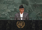 72 General Debate – 23rd of September  2017<br /> <br /> H.E. Sher Bahadur DEUBA<br /> <br /> Prime Minister of the<br /> FEDERAL DEMOCRATIC REPUBLIC OF<br /> NEPAL