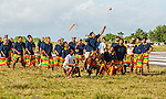 Playing 'Te Ano', the national game in Tuvalu