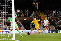 Mary Earps of England Women is called into action during the Women's international friendly match between England Women and Australia at Craven Cottage, London, England on 9 October 2018. Photo by Carlton Myrie / PRiME Media Images.