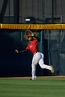 Erie SeaWolves outfielder Derek Hill (11) catches a fly ball during an Eastern League game against the Richmond Flying Squirrels on August 28, 2019 at UPMC Park in Erie, Pennsylvania.  Richmond defeated Erie 6-4 in the first game of a doubleheader.  (Mike Janes/Four Seam Images)