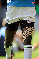 Detail of a South African player's leg strapping during the iRB Marriott London Sevens at Twickenham on Sunday 13th May 2012 (Photo by Rob Munro)