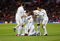 Pictured: Nathan Dyer of Swansea (on the ground C) is celebrating his goal mobbed by team mates. Sunday 24 February 2013<br /> Re: Capital One Cup football final, Swansea v Bradford at the Wembley Stadium in London.
