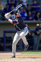Auburn Tigers first baseman Garrett Cooper #28 at bat against the LSU Tigers in the NCAA baseball game on March 24, 2013 at Alex Box Stadium in Baton Rouge, Louisiana. LSU defeated Auburn 5-1. (Andrew Woolley/Four Seam Images).