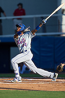 Jose Miguel Medina (44) of the Kingsport Mets follows through on his swing against the Danville Braves at American Legion Post 325 Field on July 9, 2016 in Danville, Virginia.  The Mets defeated the Braves 10-8.  (Brian Westerholt/Four Seam Images)