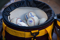 A bucket of Big Ten game baseballs during a 2015 Big Ten Conference Tournament game between the Iowa Hawkeyes and Michigan Wolverines at Target Field on May 20, 2015 in Minneapolis, Minnesota. (Brace Hemmelgarn/Four Seam Images)