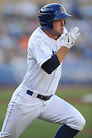 Durham Bulls first baseman Henry Wrigley #35 runs to first during a game against the Empire State Yankees at Durham Bulls Athletic Park on June 8, 2012 in Durham, North Carolina . The Yankees defeated the Bulls 3-1. (Tony Farlow/Four Seam Images).