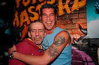 March 19, 2003, Montreal, Quebec, Canada<br /> <br /> Leo Levesque (Le bandit) (Left) with Emmanuel Auger (R) lancement DVD<br /> Le Pen