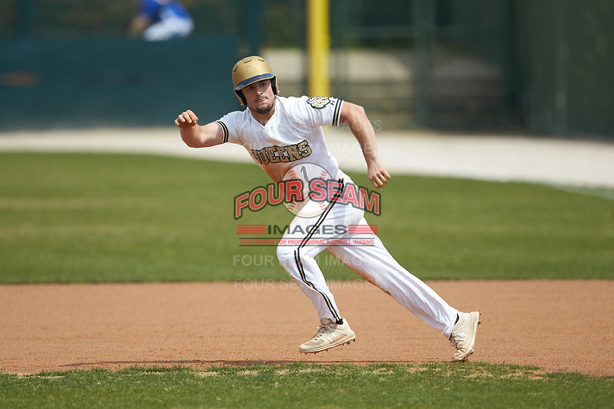 Chase Hager (1) of the Queens Royals takes off for second base during the game against the Mars Hill Lions at Intimidators Stadium on March 30, 2019 in Kannapolis, North Carolina. The Royals defeated the Bulldogs 11-6 in game one of a double-header. (Brian Westerholt/Four Seam Images)