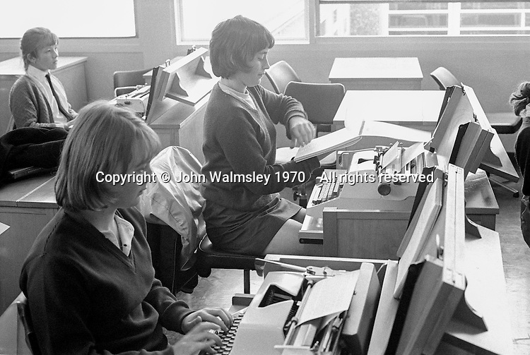 Typing class, Whitworth Comprehensive School, Whitworth, Lancashire.  1970.