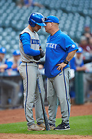 Trey Dawson (2) talks with Kentucky Wildcats assistant coach Todd Guilliams during the game against the Houston Cougars in game two of the 2018 Shriners Hospitals for Children College Classic at Minute Maid Park on March 2, 2018 in Houston, Texas.  The Wildcats defeated the Cougars 14-2 in 7 innings.   (Brian Westerholt/Four Seam Images)