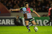 Ben Botica of Harlequins takes a kick during the Heineken Cup match between Harlequins and Biarritz Olympique Pays Basque at the Twickenham Stoop on Saturday 13th October 2012 (Photo by Rob Munro)