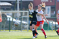 Lotte De Wilde (19) of Zulte-Waregem and Margaux Van Ackere  (37) of Eendracht Aalst  pictured during a female soccer game between SV Zulte - Waregem and Eendracht Aalst on the 17 th matchday of the 2020 - 2021 season of Belgian Scooore Womens Super League , saturday 20 th of March 2021  in Zulte , Belgium . PHOTO SPORTPIX.BE | SPP | DIRK VUYLSTEKE