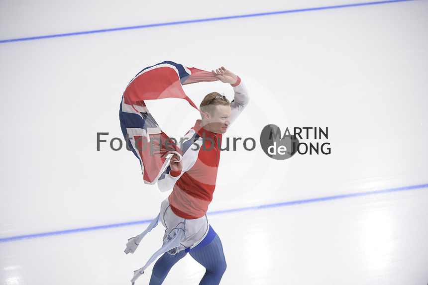 OLYMPIC GAMES: PYEONGCHANG: 19-02-2018, Gangneung Oval, Long Track, 500m Men, Olympic champion Havard Lorentzen (NOR), ©photo Martin de Jong