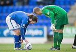 St Johnstone v Dundee United.....29.12.13   SPFL<br /> Radoslaw Cierzniak tries to put Stevie May off his penalty<br /> Picture by Graeme Hart.<br /> Copyright Perthshire Picture Agency<br /> Tel: 01738 623350  Mobile: 07990 594431
