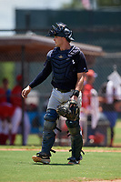 GCL Yankees East catcher Alex Guerrero (8) during a Gulf Coast League game against the GCL Phillies West on August 3, 2019 at the Carpenter Complex in Clearwater, Florida.  The GCL Yankees East defeated the GCL Phillies West 4-0, the second game of a doubleheader.  (Mike Janes/Four Seam Images)