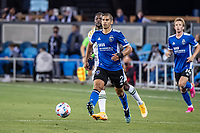 SAN JOSE, CA - MAY 15: Luciano Abecasis #2 of the San Jose Earthquakes passes the ball during a game between San Jose Earthquakes and Portland Timbers at PayPal Park on May 15, 2021 in San Jose, California.