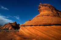 Unusual sandstone rock formations make up the landscape at South Coyote Buttes at The Vermilion Cliffs National Monument, Arizona
