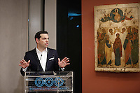 Pictured: Alexis Tsipras Friday 27 May 2016<br /> Re: Russian President Vladimir Putin with Greek Prime Minister Alexis Tsipras at the exhibition opening 'Ascension of the Christ' at the Byzantine Museum, Athens, Greece