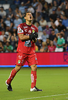 KANSAS CITY, KS - AUGUST 10: Rodolfo Cota #30 of Club Leon FC celebrates his team's goal in the second half during a game between Club Leon FC and Sporting KC at Children's Mercy Park on August 10, 2021 in Kansas City, Kansas.