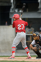 Johnson City shortstop Pete Kozma (27) at bat versus Princeton at Hunnicutt Field in Princeton, WV, Friday, August 10, 2007.