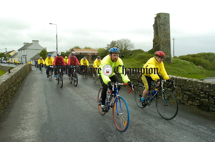 Participants in the Clare 250 mile cancer cycle leave the village of Doonbeg as they head north towards Mullagh.  Photograph by John Kelly.