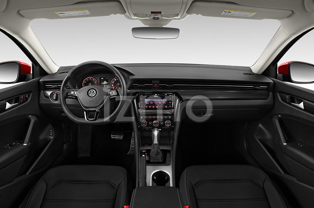 Stock photo of straight dashboard view of 2020 Volkswagen Passat R-Line 4 Door Sedan Dashboard