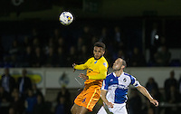 Aaron Holloway of Wycombe Wanderers beats Mark McChrystal of Bristol Rovers in the air during the Johnstone's Paint Trophy match between Bristol Rovers and Wycombe Wanderers at the Memorial Stadium, Bristol, England on 6 October 2015. Photo by Andy Rowland.