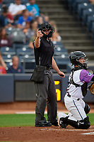 Umpire Tom Hanahan calls a strike during an Eastern League game between the Erie SeaWolves and Akron RubberDucks on August 30, 2019 at Canal Park in Akron, Ohio.  Erie defeated Akron 3-2.  (Mike Janes/Four Seam Images)