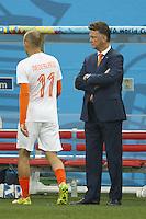 Netherlands manager Louis van Gaal watches Arjen Robben