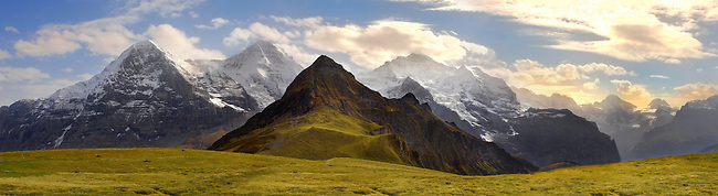Mannlichen panorama ooking towards the North Face Of The Eiger and The Jungfrau - Grindelwald Swiss Alps