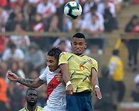 LIMA,PERÚ,09-06-2019:William Tesillo jugador de Colombia disputa el balon Paolo Guerrero jugador del Perú durante   partido amistoso de preparación para la Copa América de Brasil 2019 jugado en el estadio Monumental de Lima la ciudad de Lima./ William Tesillo player of Colombia fights the ball against of Paolo Guerrero player of Peru team during a friendly match in preparation for the 2019 Copa América of Brazil played at Lima's Monumental Stadium in Lima. Photo: VizzorImage / Cristian Alvarez / FCF