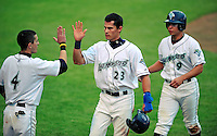 22 June 2009: Vermont Lake Monsters' outfielder J.R. Higley returns to the dugout after scoring a run against the Tri-City ValleyCats at Historic Centennial Field in Burlington, Vermont. The Lake Monsters defeated the visiting ValleyCats 5-4 in extra innings. Mandatory Photo Credit: Ed Wolfstein Photo